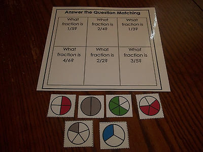 Answer the Question Fractions Laminated Educational Game. Pre-K thru 4th Grade.