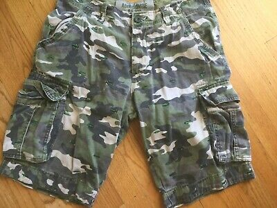 ABERCROMBIE & FITCH SHORTS CAMO CARGO DISTRESSED 34