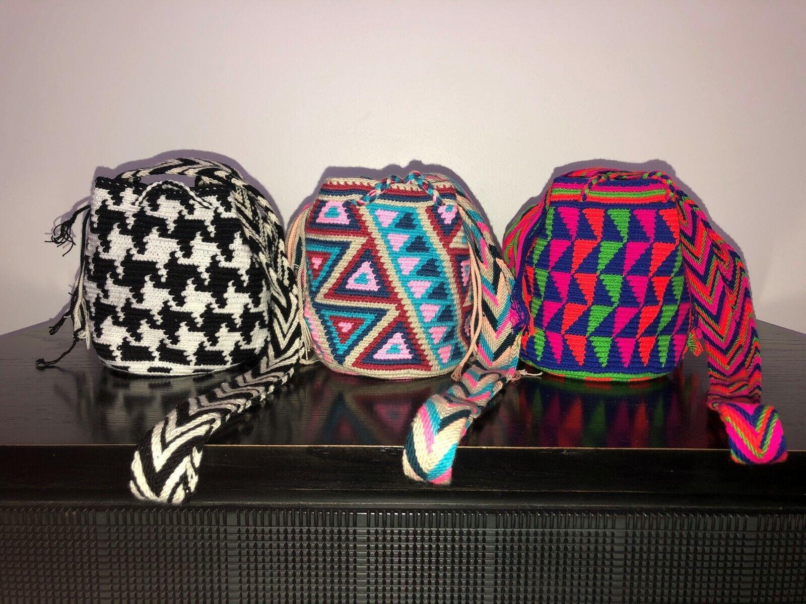 new 3 choices Authentic 100 Wayuu Mochila Colombian bag smallmini tassels