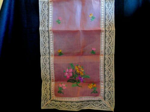 "Antique Hand Embroidered Lace & Ribbon Table Runner Dresser Scarf 42"" x 14"""