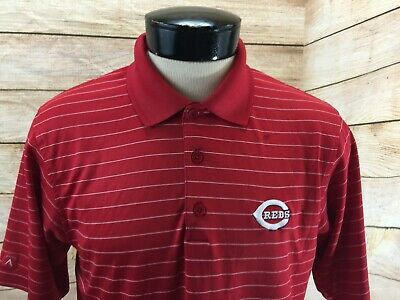 Antigua Mens Large Cincinnati Reds Polo Shirt MLB Baseball Striped