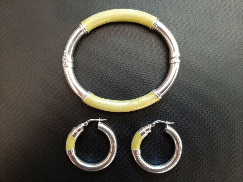 Milor Iridescent Green Enamel Hinged Bangle Bracelet & Earrings Set - 925 SS