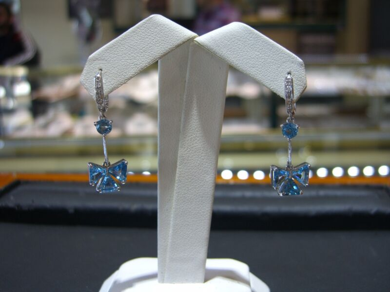 Fine Womens Bow Earrings Diamond And Blue Topaz 14 Karat White Gold New Wow