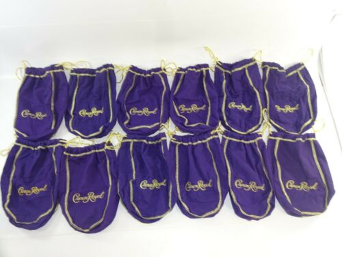 "Lot of 12 Crown Royal 750ml / 1 liter Med Size Purple Drawstring Bags 8-9"""