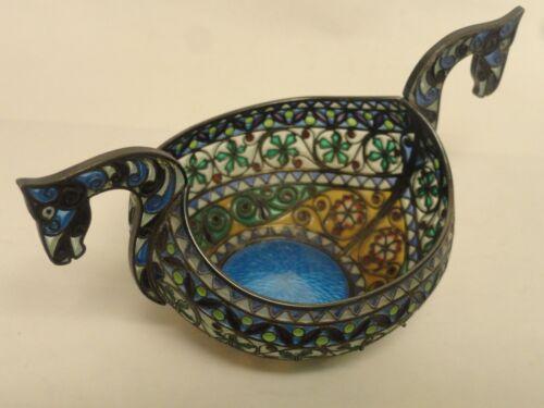 """Antique Norwegian silver plique-a-jour & guilloche enamel bowl with horses 5"""""""