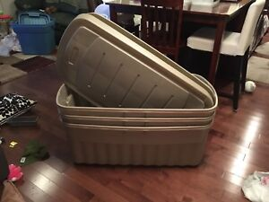 3 Jumbo Rubbermaid storage bins