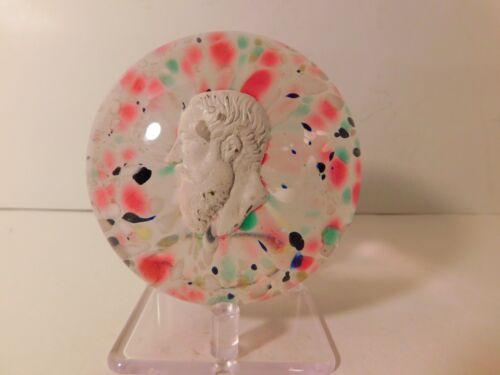AMAZING Bohemian/Czech Large SULPHFIDE of a KING Portrait Art Glass Paperweight