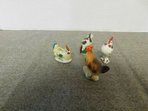4 Vintage Chickens / Roosters Porcelain / Ceramic Minatures
