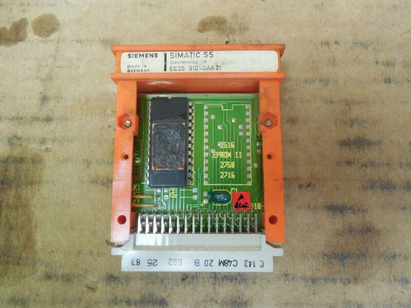 Siemens Simatic S5 1K Memory Module 6ES5 910-0AA21 Used