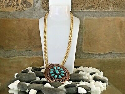 Southwestern Copper Turquoise Pendant Gold Link Chain -