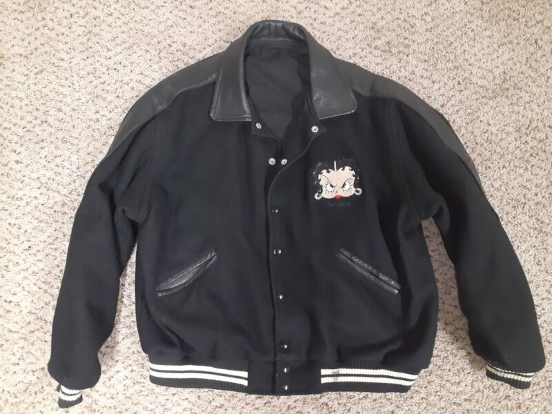 Vintage Too Cute 1993 Betty Boop wool and leather bomber  Jacket  Large