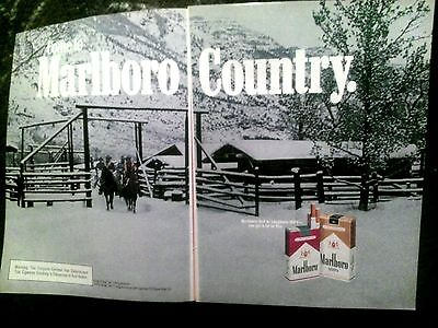 Vintage Print Ad 1980 Marlboro Country snow mt. bunkhouse 2  pages advertisement