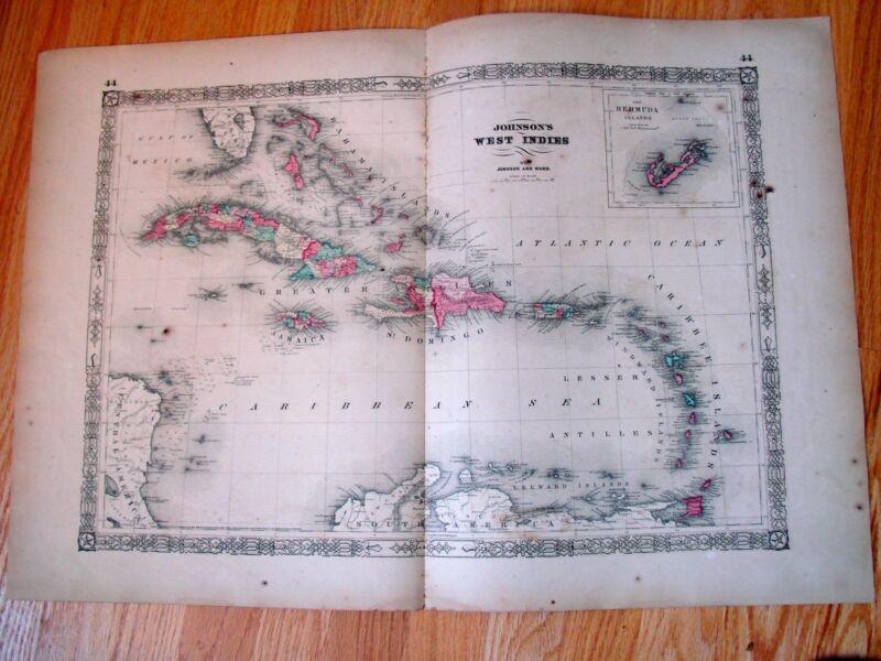 Antique 1864 Map:  WEST INDIES, Bermuda, Jamaica, Civil War Era