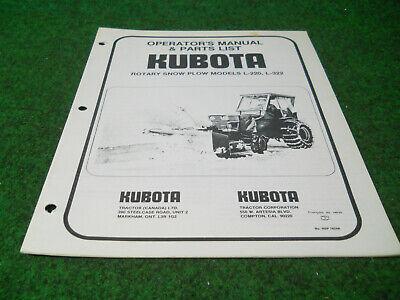 Kubota L220 L322 Rotary Snow Plow Blower Owners Manual