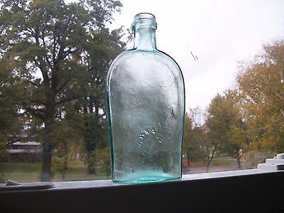 1860s HALF PINT STRAPSIDE FLASK G.W.K. ZANESVILLE OHIO APPLIED TOP