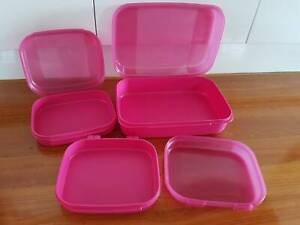 RARE Tupperware Pink Storz a Lot Flip top containers RRP90 Kangaroo Point Brisbane South East Preview