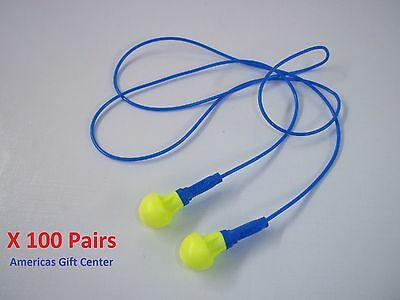 100 Pairs Earplugs 3m Push-ins Corded Earplug Hearing Conservation In Poly Bag