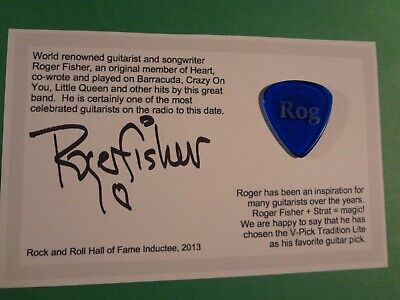 Used, ROGER FISHER PERSONALIZED GUITAR PICK V-PICKS WITH CARD AND AUTOGRAPH for sale  Shipping to Canada