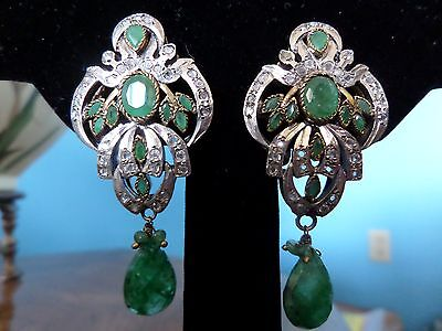 Antique Victorian Style Emerald White Sapphire Sterling Silver Earrings