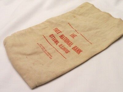 Vintage Cloth Coin/Money Bag The First National Bank Ottawa, IL