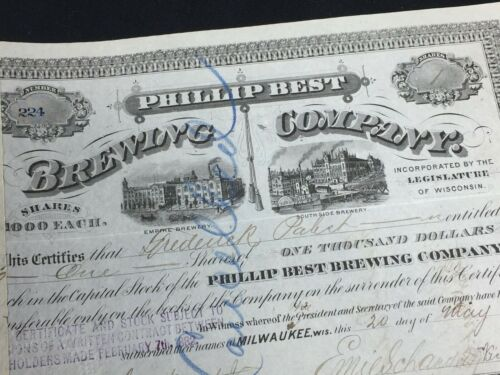 Stock Certificate PHILLIP BEST BREWING CO 1873 Signed Fredrick Pabst - 699 z