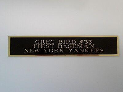 Greg Bird Yankees Nameplate For An Autographed Baseball Jersey Case 1.5 X 8