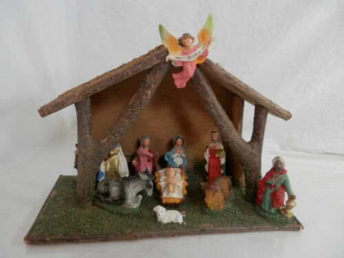 Vintage 10 pc Italian Nativity Set Christmas Manger Scene Creche Marked Italy