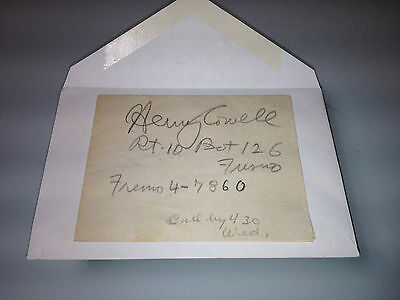Authentic Autograph of American Composer Henry Cowell from November 3, 1945