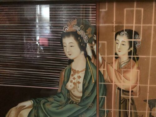 "Antique Chinese Asian Reverse Painting Glass"" Showing BREAST""  RARE 20""X14"""