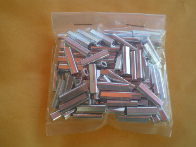 100 XL. WIRE LEADER OVAL ALUMINUM CRIMP SLEEVES 250 LBS. TEST 1.7X18MM .059 ID.