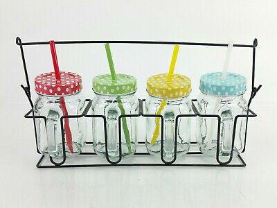 Mason Jar Mugs Drinking Glasses With Handles Plastic Straws Glass and Carrier - Plastic Mason Jars With Handles