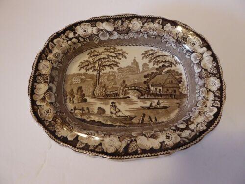 Antique Staffordshire brown transferware bowl wild rose border 1840