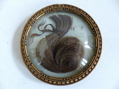 ANTIQUE RELIQUARY SENTIMENTAL MOURNING HAIR ART dated 1878 - 1914