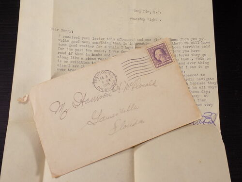 WW1 Letter Home to Brother Ft. Dix N.J Watching British Tank Roll over Trees