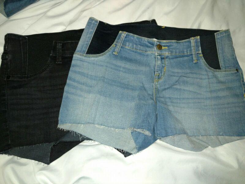 Isabel Maternity denim shorts blue or black without hem cutoff nwot