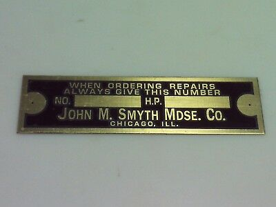 John M. Smyth Engine Name Tag Nameplate