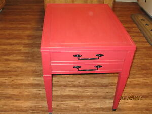 Antique Red End Table