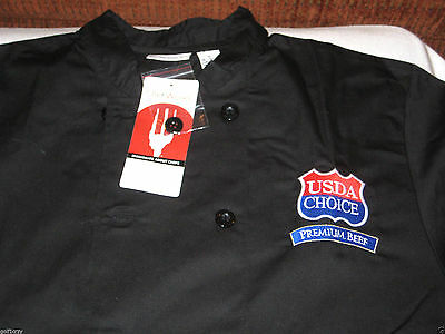 Chef Works New Black Culinary Chef Coat Jacket L Large NWT long sleeve USDA logo