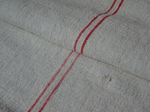 Antique European Feed Sack GRAIN SACK Red Stripe # 8436