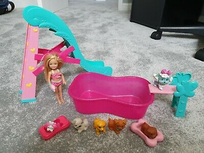 BARBIE Chelsea Flipping Pup Pool Set Toy and Puppy Dog Slide - VGC