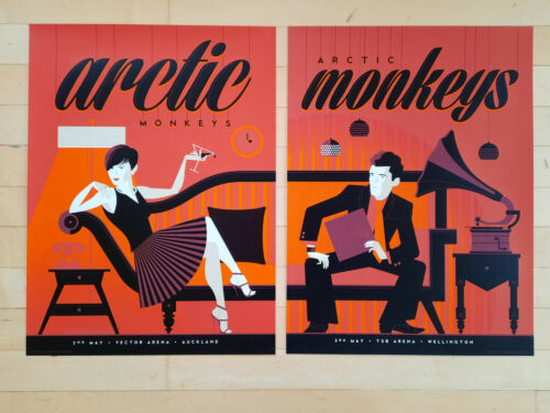 +++ 2014 ARCTIC MONKEYS 2 Gig Posters Wellington & Auckland 94/245 matching #