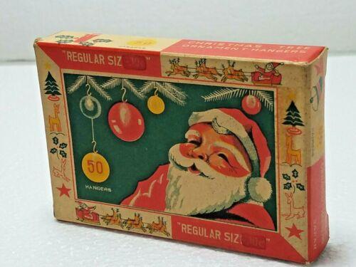 Vintage Christmas tree Ornament HAngers Santa Tree Sled on Box Santaland Japan