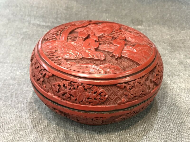 Brilliant Piece Of  Antiue Chinese Cinnabar box