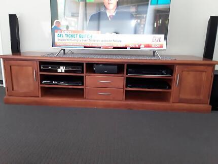 TV CABINET CUSTOM BUILT SOLID TIMBER