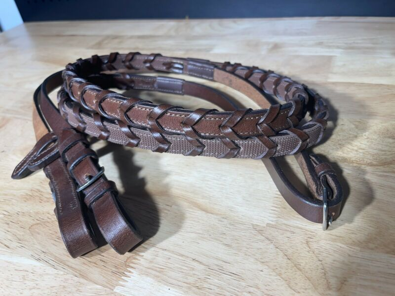 Leaders Laced Leather Rubber Lined Reins Brown ***High Quality***