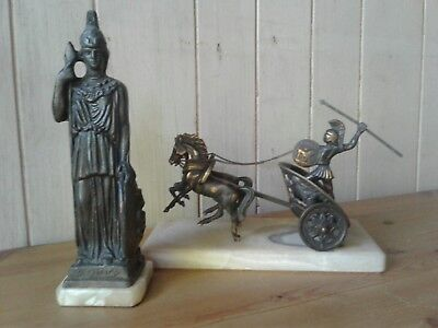 Vintage Greek bronzed spelter Goddess Athena and soldier driving chariot