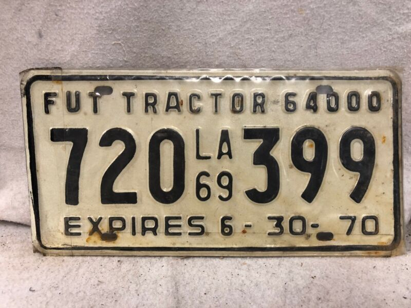 Vintage 1969-1970 Louisiana Tractor License Plate