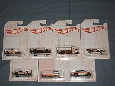 HOT WHEELS ANNIVERSARY PEARL & CHROME SET OF 7 + CHASE GT 55 CHEVY GASSER VW T2