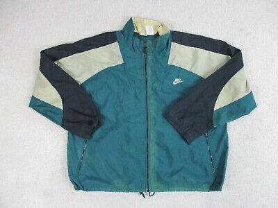 VINTAGE Nike Jacket Adult Large Green Black Swoosh Windbreaker Coat Men 90s A15*