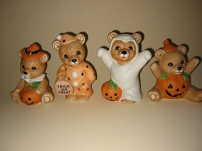 Homco Halloween Ceramic Teddy Bears Pumpkin Clown Ghost Set of 4 Home Interiors
